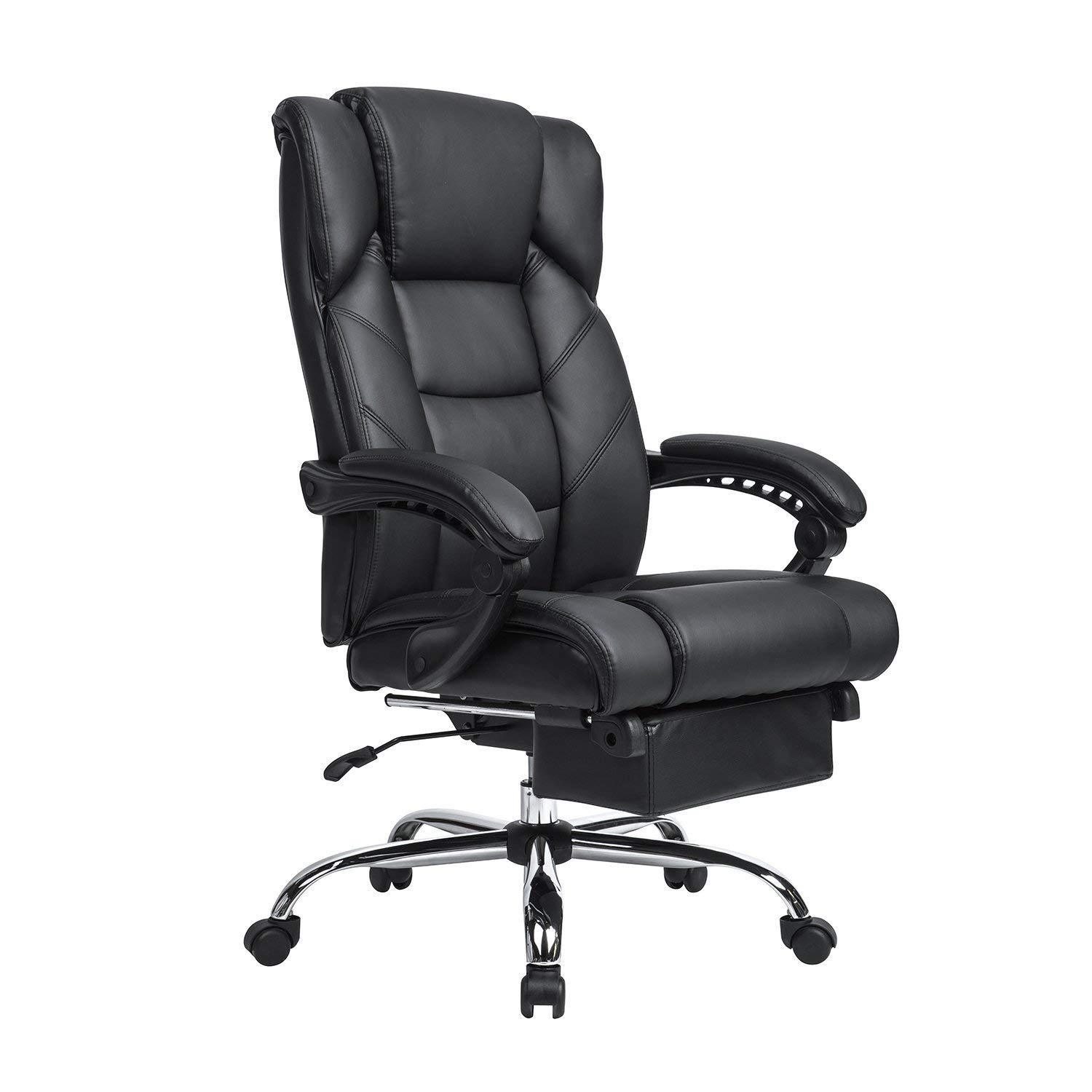 Lch Reclining Leather Office Chair High Back Executive With Adjule Angle Recline Locking System And Footrest Best Ergonomic Under